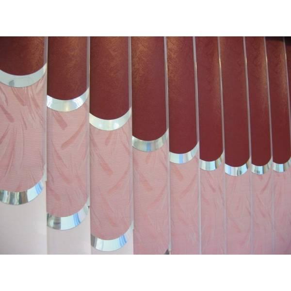 Вертикальные тканевые мультифактурные жалюзи с декоративными элементами в Бресте